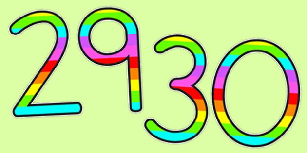 Stripy Rainbow Display Numbers Up to 30 - australia, stripy rainbow, stripe, rainbow, display numbers, display, numbers, 30