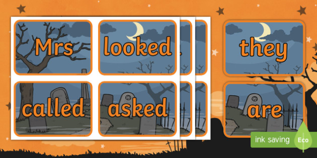 Halloween Themed Phase 2 to 5 Tricky Words Flashcards
