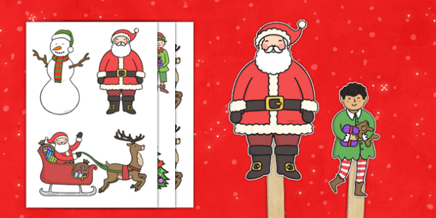 Christmas Stick Puppets - christmas, stick puppets, stick, puppets