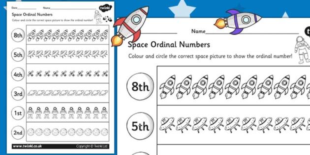 Space Themed Ordinal Numbers Worksheet - space, numbers, order