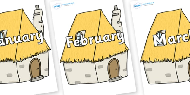 Months of the Year on Cottage - Months of the Year, Months poster, Months display, display, poster, frieze, Months, month, January, February, March, April, May, June, July, August, September