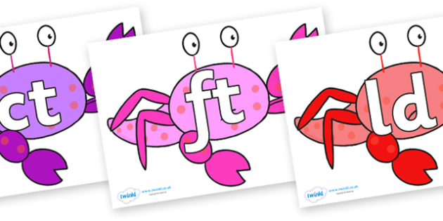 Final Letter Blends on Crab to Support Teaching on Sharing a Shell - Final Letters, final letter, letter blend, letter blends, consonant, consonants, digraph, trigraph, literacy, alphabet, letters, foundation stage literacy