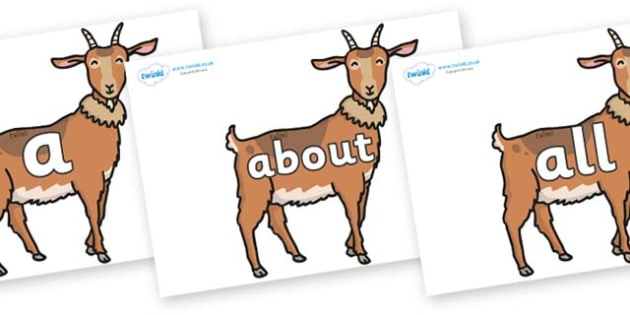 100 High Frequency Words on Medium Billy Goats - High frequency words, hfw, DfES Letters and Sounds, Letters and Sounds, display words