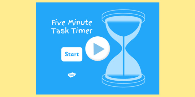 5 Minute Task Timer PowerPoint - visual aid, presentation, time, starter