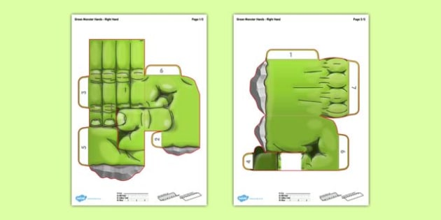 3D Green Monster Hands for Display: Paper Model