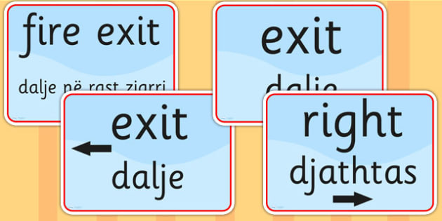 Directions and Safety Signs EAL Albanian Version - languages, EAL