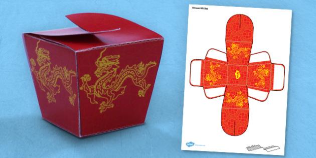 Chinese Gift Box Net Template - gift box, paper, model, chinese, activity