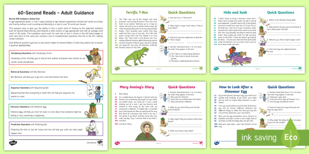 60-Second Reads: Dinosaurs Activity Cards - 90 Words A Minute, Ninety Words, Reading, Guidance, Year 2, Y2, One Minute Reading