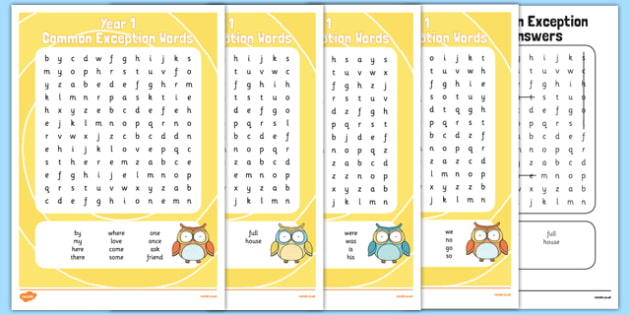 Common Exception Words Year 1 Word Search Pack - common exception words, year 1, word search, pack