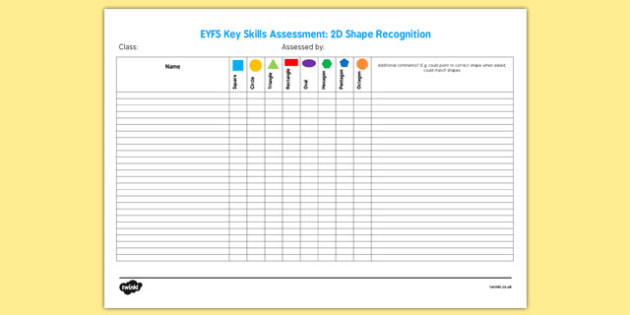 EYFS Key Skills Assessment 2D Shape - eyfs, key skills, assessment