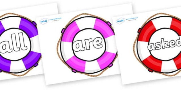 Tricky Words on Life Belts - Tricky words, DfES Letters and Sounds, Letters and sounds, display, words
