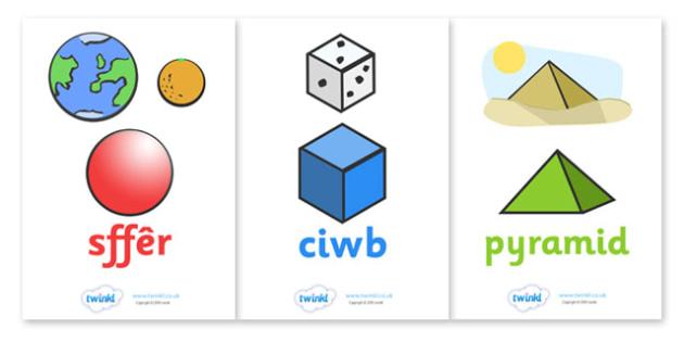Posteri Siapiau 3D - Pethau Cyfarwydd - In the environment, Shape poster, Shape flashcards, Shape recognition, Shapes in the environment, Welsh, cymru, Wales