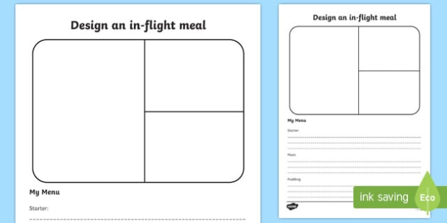 Design An In Flight Meal - design, in-flight, meal, worksheets