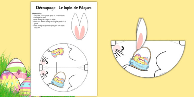 Cutting Skills Easter Bunny French - french, easter, bunny, cutting, cut, cutout
