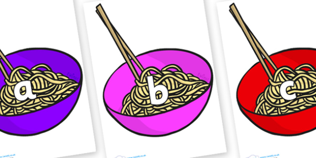 Phase 2 Phonemes on Chinese Noodles - Phonemes, phoneme, Phase 2, Phase two, Foundation, Literacy, Letters and Sounds, DfES, display