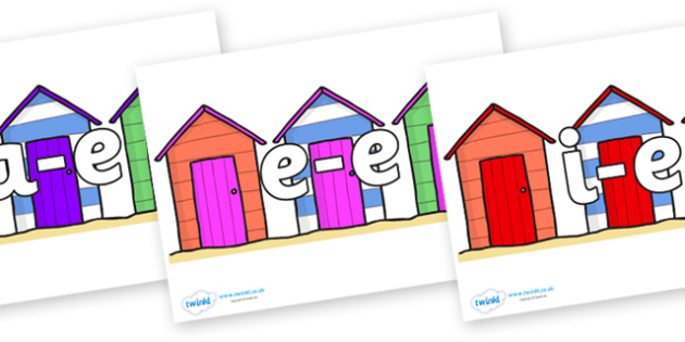 Modifying E Letters on Beach Huts - Modifying E, letters, modify, Phase 5, Phase five, alternative spellings for phonemes, DfES letters and Sounds
