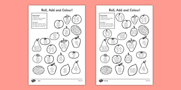Fruit Roll and Colour Three Dice Addition Activity - fruit, roll, colour