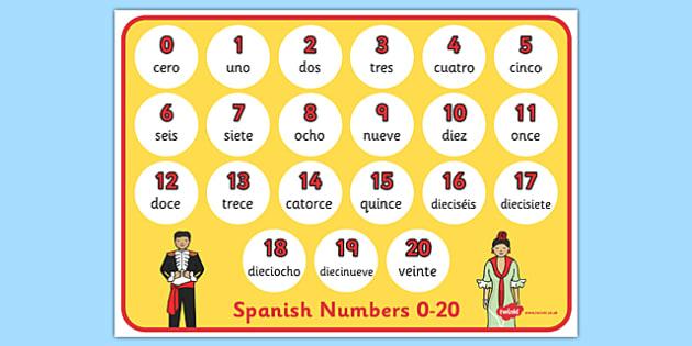 Spanish Numbers 0-20 Display Poster - spanish, spanish numbers, spanish number mat, spanish numbers poster, spanish number translation, languages display