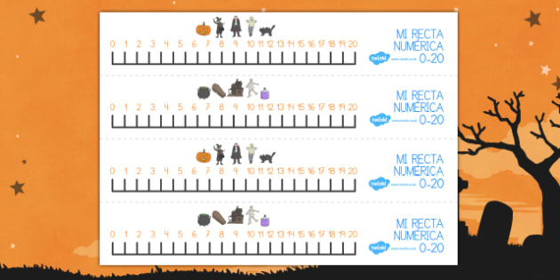 Halloween 1-20 number line