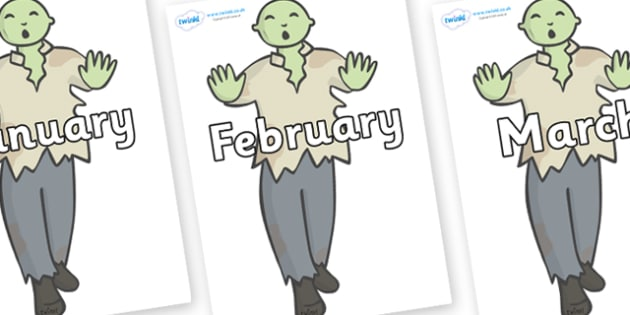 Months of the Year on Zombies - Months of the Year, Months poster, Months display, display, poster, frieze, Months, month, January, February, March, April, May, June, July, August, September