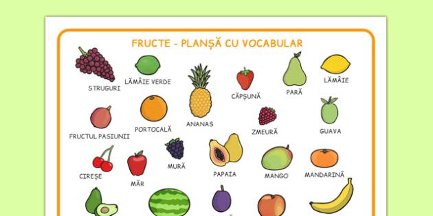 Fructe - Planșă cu vocabular - Fructe, Planșă cu vocabular - fructe, vocabular, plante, fructele, wordmat, romanian, materiale, materiale didactice, română, romana, material, material didactic