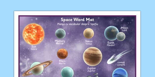 Space Word Mat Detailed Images Romanian Translation - romanian, space, word mat, word, mat, detailed, images