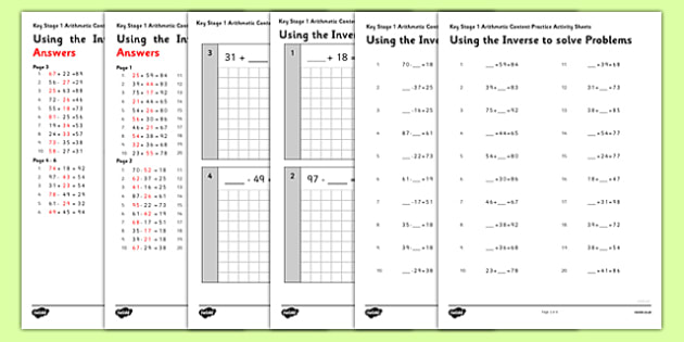 KS1 Arithmetic Content Practice Activity Sheet Pack Using the Inverse to Solve Problems - Maths, KS1, Key Stage 1, Arithmetic, addition, subtraction, two-digit, tens, ones, add, subtract, inverse, worksheet