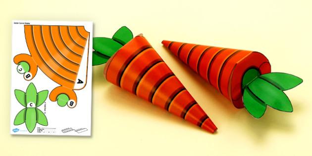 3D Easter Carrot Hanging Display Printable - 3d, easter carrot, hanging, display, activity, printable, paper model, paper craft