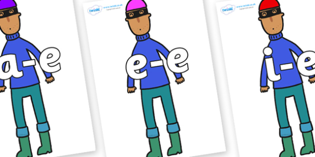 Modifying E Letters on Tall Robber to Support Teaching on What the Ladybird Heard - Modifying E, letters, modify, Phase 5, Phase five, alternative spellings for phonemes, DfES letters and Sounds