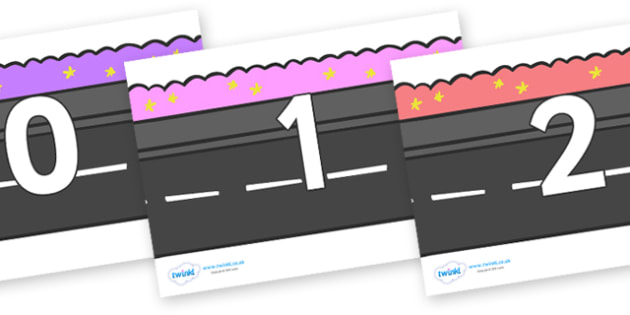 Numbers 0-100 on Roads - 0-100, foundation stage numeracy, Number recognition, Number flashcards, counting, number frieze, Display numbers, number posters
