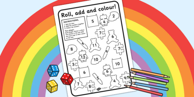 Toy Roll and Colour Worksheet - toys, colouring, dice games
