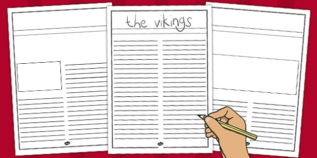 Viking Newspaper Writing Template - Vikings, Newspaper Template