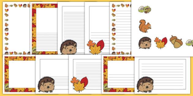 Autumn Page Borders - Page border, border,  Autumn, seasons, autumn pictures, autumn display, leaves, acorn, conker, atumn