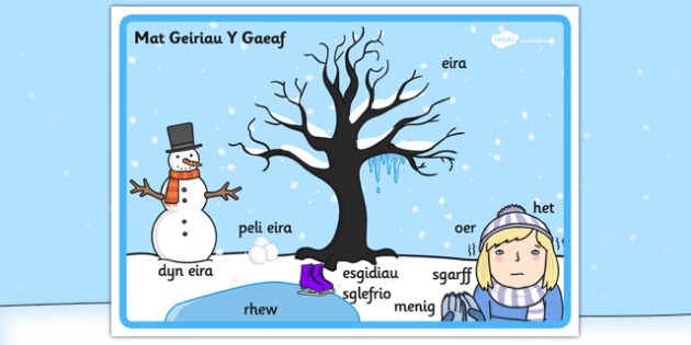 Winter Scene Word Mat Welsh Translation - winter, scene, welsh