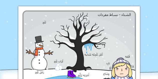 بساط مفردات مشهد الشتاء - الشتاء، مفردات، وسائل تعليمية
