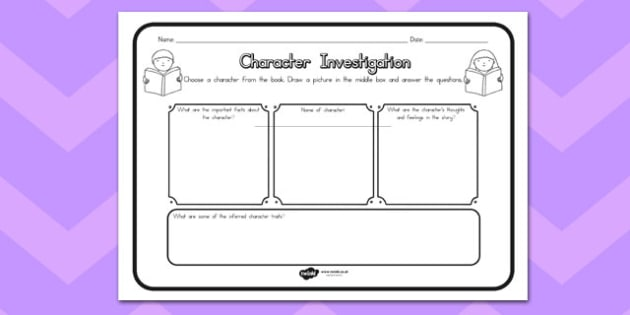 Character Investigation Comprehension Worksheet - australia