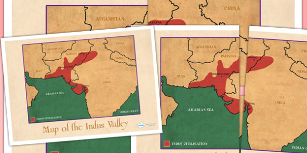 The Indus Valley Map Poster - bronze age, history, indus valley
