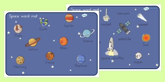 Space Word Mat - space, word, keywords, key word mat, visual aid