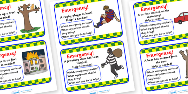 Emergency Services Incident Cards - emergency Services, incident, cards, flashcards, role play, fire service, ambulance, police, 999, 911