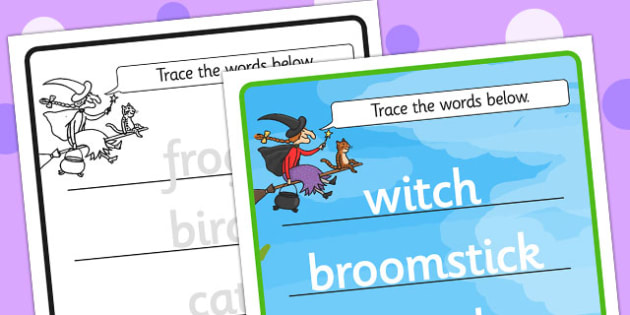 Topic Word Tracing Worksheets to Support Teaching on Room on the Broom - room on the broom, word tracing, room on the broom word tracing, themed word tracing