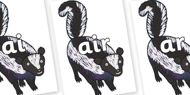 Phase 3 Phonemes on Skunk to Support Teaching on The Bad Tempered Ladybird - Phonemes, phoneme, Phase 3, Phase three, Foundation, Literacy, Letters and Sounds, DfES, display