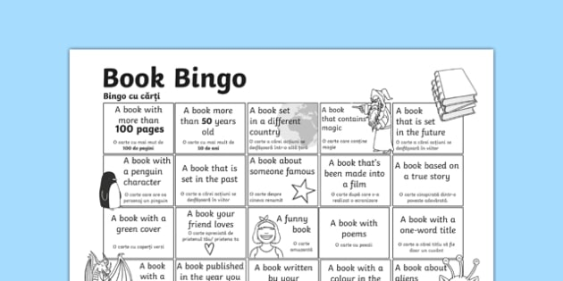 Book Bingo Activity Sheet Romanian Translation-Romanian-translation, worksheet