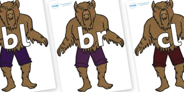 Initial Letter Blends on Beast - Initial Letters, initial letter, letter blend, letter blends, consonant, consonants, digraph, trigraph, literacy, alphabet, letters, foundation stage literacy