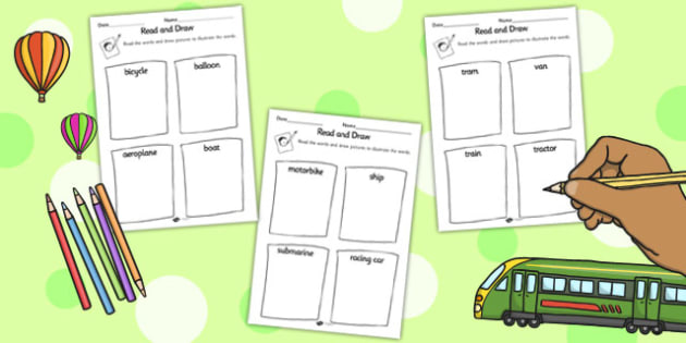 Transport Read and Draw Worksheet - read, draw, transport, sheet