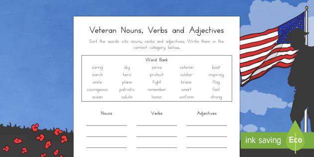 Veteran Sorting Noun, Verb and Adjective Writing Activity Sheet