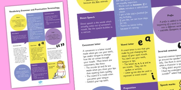 Y3 Vocabulary Grammar Punctuation Terminology Definition Poster