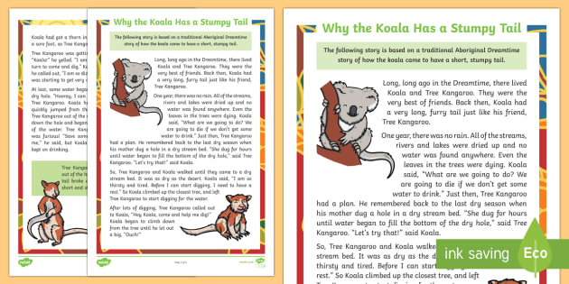 Why the Koala Has a Stumpy Tail Story-Australia
