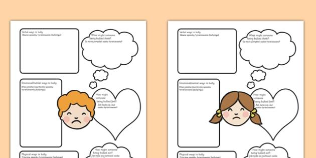 Bullying Worksheets Polish Translation - polish, bullying, worksheets, bully