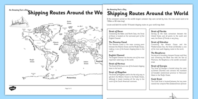 Shipping Routes around the World Activity Sheet - shipping routes, world map, worksheet