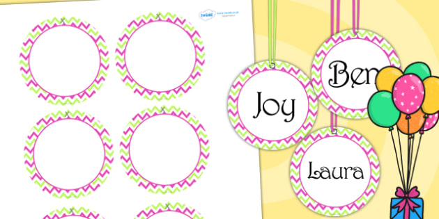 Zig Zag Birthday Party Name Tags Pink And Green - birthday, party